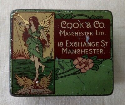 Art Nouveau Cook & Co Ring Travellers Antique Advertising Tin Manchester England