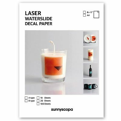 Sunnyscopa DIY Laser Waterslide Decal Paper A4 10 sheets Clear