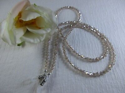 "GLISTENING CHAMPAGNE Petite 25"" Swarovski  Crystal Beaded Eyeglass Chain~Holder"