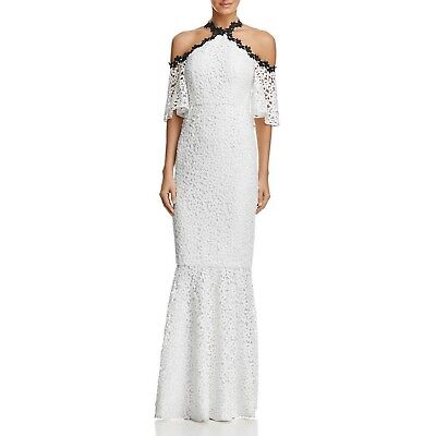 6734e6bcba4 JILL Jill Stuart Chemical Lace Halter Off The Shoulder Gown White Sz 0  548  NWT