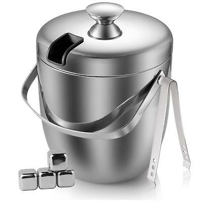 Fortune Candy Double Wall Stainless Steel Ice Bucket with Tong and Ice Cubes,3