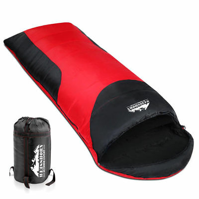 WEISSHORN Camping Envelope Sleeping Bag -10°C Single Thermal Tent Hiking Red