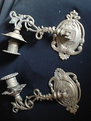Pair Of Folding Original Folding,ornate Brass Wall/piano Candel Stick  Sconces
