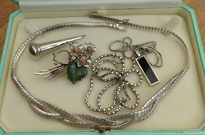 Vintage Jewellery Mixed Job Lot of Silver  Scrap Wear Repair - Necklace Brooch