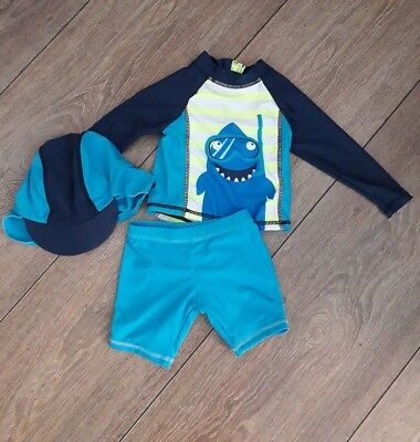 Baby Boys Uv 3 Piece Sun Top+Hat+Shorts Age 3/6 Months