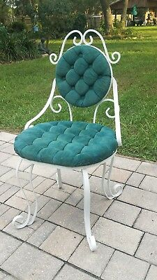 Vintage Hollywood Regency wrought iron and velvet vanity chair seat Mid-Century