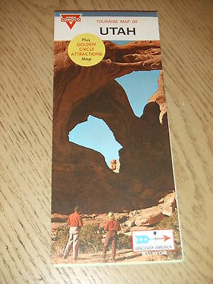 1969 Conoco Oil Gas Utah State Highway Road Map Touraide Attraction Guide Zion