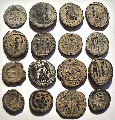 Lot of 16 Æ4 Ancient Roman and Byzantine Bronze Coins from IV.-V. Century