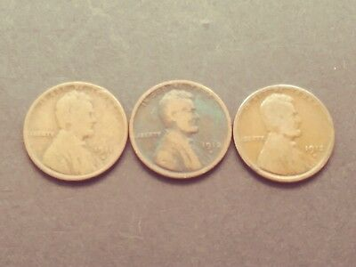 Nice Lot of Three (3) different better early-date Lincoln Cents