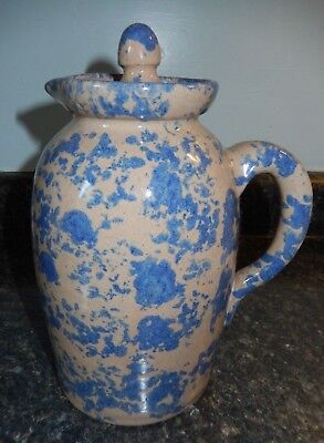 """Bybee Pottery Blue Spongeware 9-1/2"""" Covered Pitcher ~EXC~Fast Shipping!"""