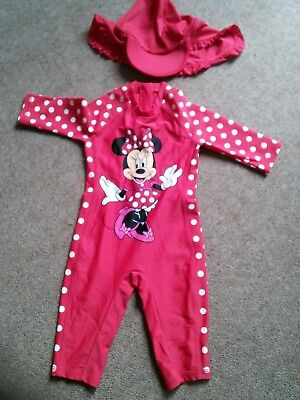 Girls Minnie Mouse swimsuit age 9-12 months by Disney