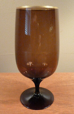 4 Lenox mid-century DUSK SHADOW brown smoked iced tea glasses with gold rims