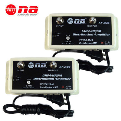 2 Pack 36 DB Cable Antenna Color TV Booster Signal Amplifier VHF UHF FM HDTV