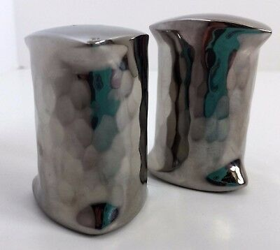 Mary Jurek Miranda Stainless Steel Salt & Pepper Shakers Triangular Hammered