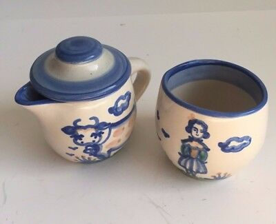 Hand Painted Signed M.A. Hadley Creamer And Covered Sugar Bowl Stoneware