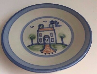M.A.Hadley Luncheon Plate Country Scene Blue  House Louisville KY USA