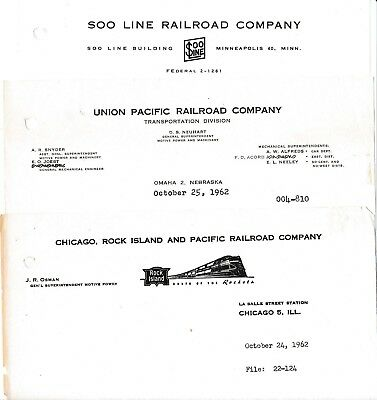 Union Pacific, Rock Island & Soo Line Railroad Vintage 1962 Letters Snow Plows