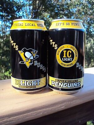2018  IC LIGHT Pittsburgh Penguins 12 oz.Beer Can LTD EDITION /  IRON CITY/ NHL