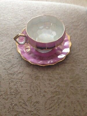 Vintage Royal Halsey Lavender Pink Gold Lusterware Footed Tea Cup and Saucer