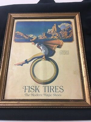 Antique Sept 13, 1917 MAXFIELD PARRISH Advertising FISK TIRES Modern Magic Shoes
