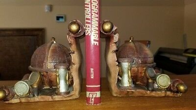 Vintage Old World Globe Book Ends - composite type material - Set Pair