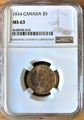 Low Mintage 1914 Canadian $5 Gold Coin NGC MS63