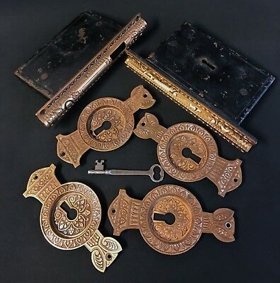 DECORATIVE Antique Brass Pocket Door Hardware, Lock & KEY * RUSSELL & ERWIN 1883