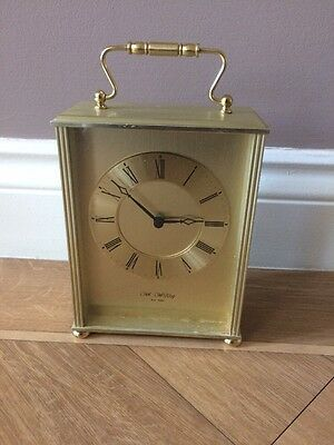 Vintage Solid brass Wm Widdop Gold Carriage Mantel Clock full working order