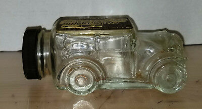 Antique Vintage Glass Candy Container Bottle Car Auto Candy Treat Label Contents