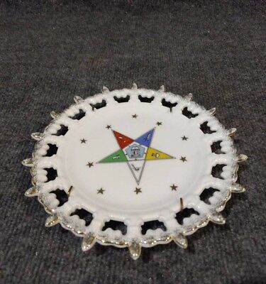 Vintage Lefton China Hand Painted Order Of The Eastern Star Reticulated Plate