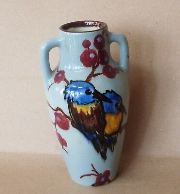 Antique vintage Asian / japan / Chinese small vase with hand painted bird