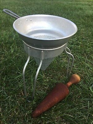 Vintage Wear-ever Aluminum Cone Sieve Colander No. 462 With Wood Pestle Canning