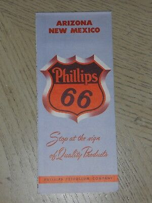 VINTAGE 1953 Phillips 66 Oil Gas Arizona New Mexico Highway Road Map Carlsbad NM