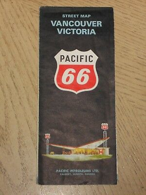 1965 Pacific 66 Oil Gas Vancouver Victoria BC Canada City Street Road Map STAMP