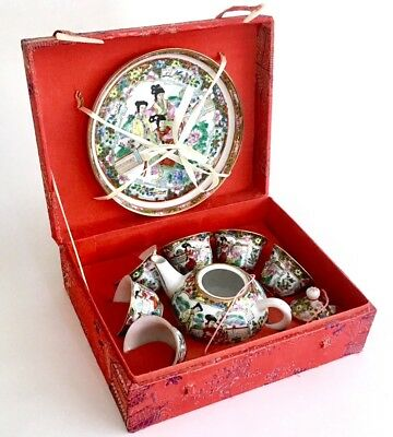 Vintage, Chinese/ Oriental, Miniature/ Childs Tea Set, In A Red Silk Covered Box