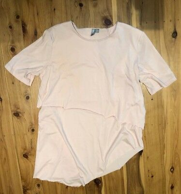 Asos Asymetric Pink Breast Feeding Nuring Top Size 12