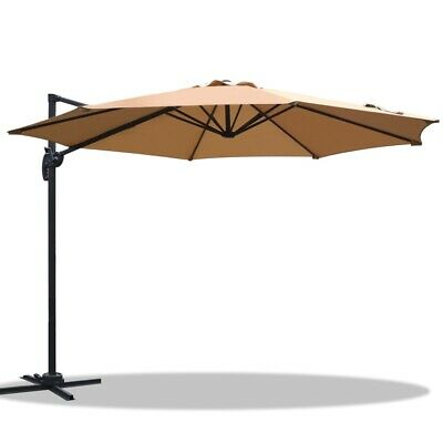 Outdoor Umbrella Garden Patio Beach Sun Shade Cover Canopy Waterproof Beige 3M
