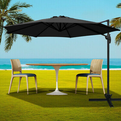 3M Outdoor Umbrella Waterproof Canopy Garden Patio Beach Sun Shade Cover Black