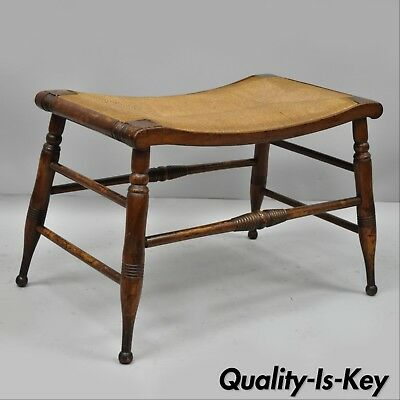Antique Maple and Rush Seat Country Colonial Primitive Bench