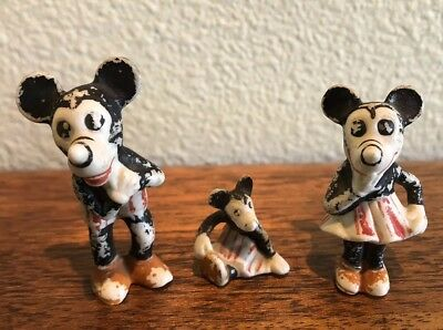 1930's Mickey Minnie Mouse German Bisque Figures Disney Germany Black White