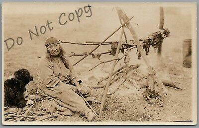 Native American Indian & Dog Cooking Rppc Postcard