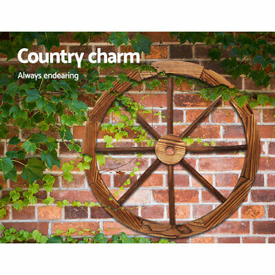 2 PCS Wooden Wagon Wheel Vintage Sturdy Wood In/Outdoor Home Garden Decoration