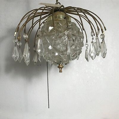 Antique brass clear cut glass 1970s electric swag pendant ceiling light fixture