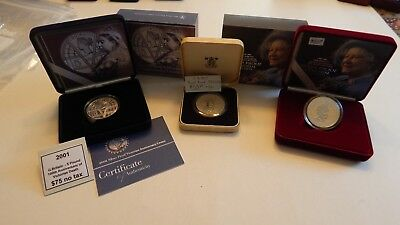 Great Britain Lot (2001 & 2002 - 5 Pound Silver) (1980 Silver Comm.)  (#1077)