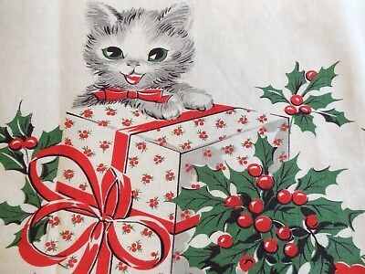 """Vintage Cotton Christmas Fabric, Kittens w/ Presents, 35"""" W x 2.5 Yds, Exc!"""