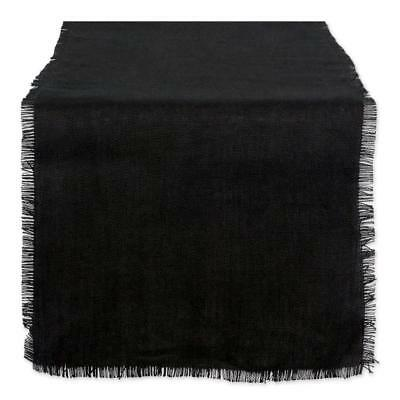 "DII 15x74"" Jute/Burlap Table Runner, Black - Perfect for Halloween, Dinner..."