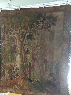 """Aubusson Style Antique French Tapestry Courting Couple Bucolic Scene 40"""" x 46"""""""