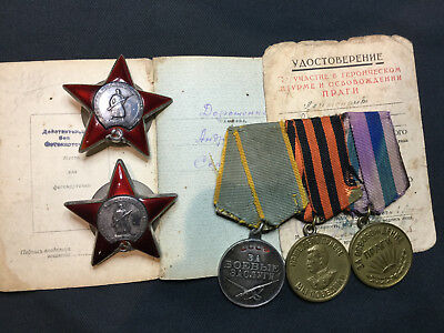 SOVIET WWII TWO RED STAR ORDERS and 2 medals