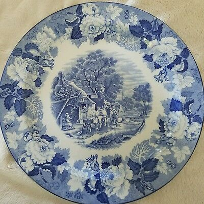 """Wood & Sons Woods Ware Enoch Blue English Scenery 10"""" Round Plate"""