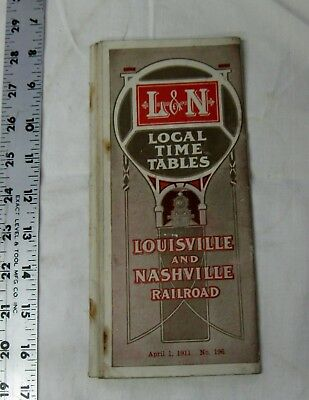 Apr. 1 1911 train RR Local time table L & N Louisville & Nashville No. 196